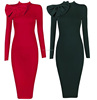 Plus Size Long Sleeve Uniforms Women Fashion OL Long Form Bodycon Dress Elegant Bow Red nlack Pencil Party Bow Dresses Vintage