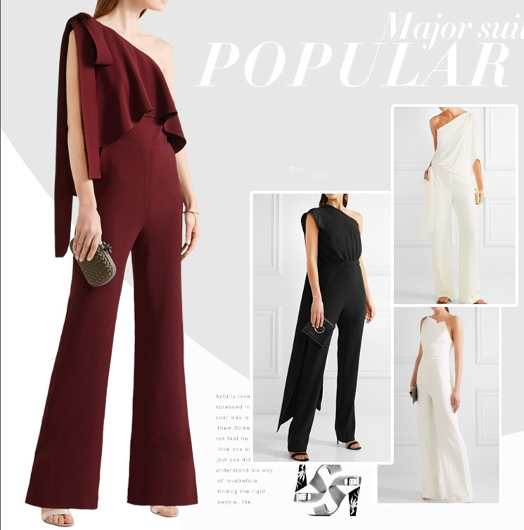Fashion chiffon one-shoulder bowknot strap loose jumpsuit China manufactory