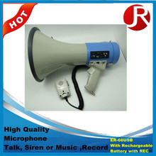Handheld Megaphone mini ER-66 With Rechargeable Battery and REC Power:45W RMS/50W MAX