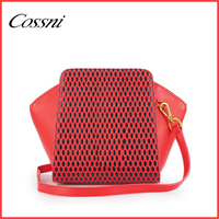 Leisure Red PU Leather Handbag For Girls School Dating