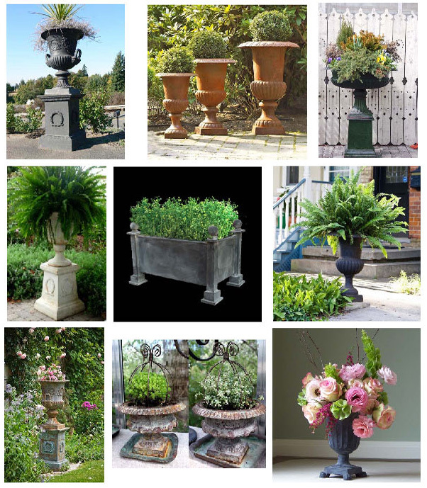 Classic Cast Iron French Flower Pot, Garden Urns