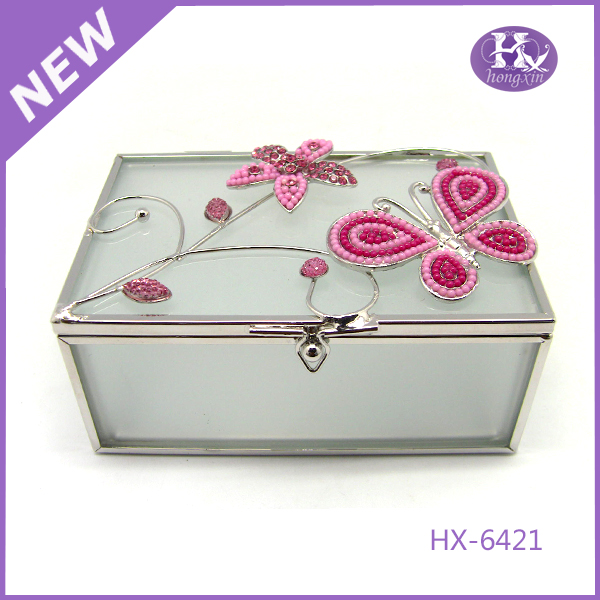 HX-6421 Ceramic black lacquer meat and glass jewellery box