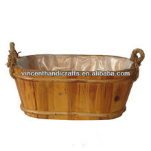 Rustic antique oval fire wood flower pot for garden rope handle planter