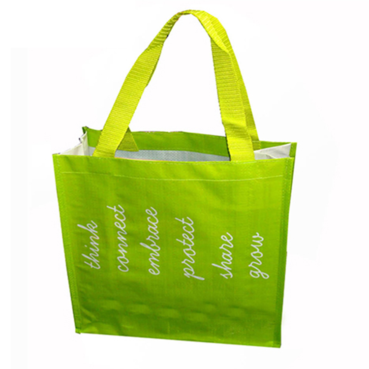 Fashion Green Grocery Laminated Shopping Polypropylene Pp Woven Bag