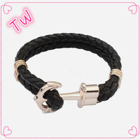 fashion jewelry hong kong 2016 top selling leather bracelet customized with logo ,Unisex unique anchor bracelet leather stock