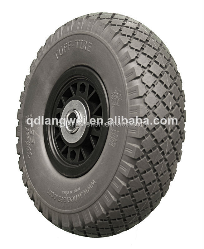wheelbarow wheel tire 3.00-4 turf pu wheel flat free tire for hand trolley Kayak and wagon