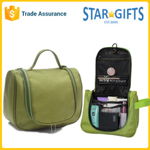 Green Custom Large Space Polyester Travel Portable Makeup Bag With Front Zipper Pocket