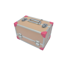 Professional fashion portable women girl travel cosmetic makeup train case