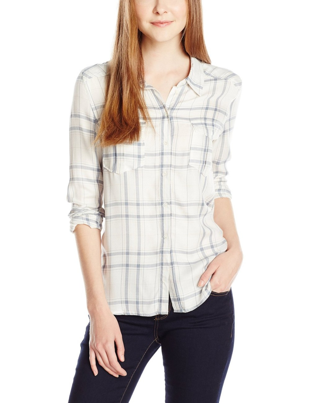 off white plaid check long sleeve shirt/blouse