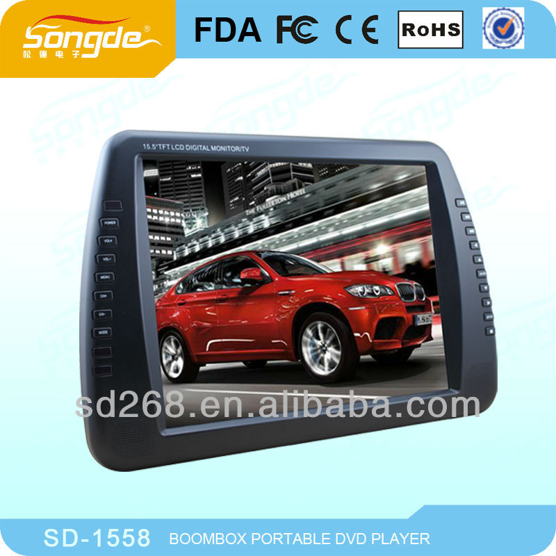 15'' digital panel Portable DVD Player also can be used PC Monitor