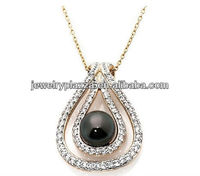 Unique 925 Sterling Silver Jewelry,14K Gold Plated 8mm Black Pearl Pendant Necklace with 18 Chain
