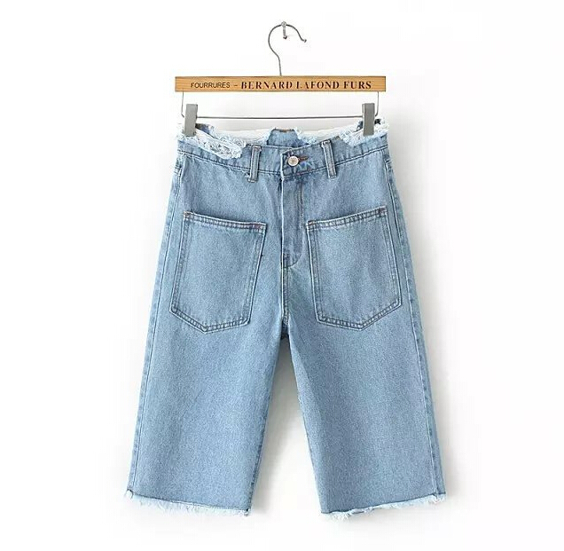EY0575A Cheap wholesale women cargo shorts light blue fashion high waist denim shorts
