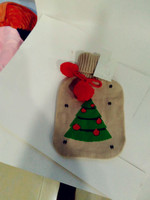 Christmas gift hot water bottle knit Christmas tree cover