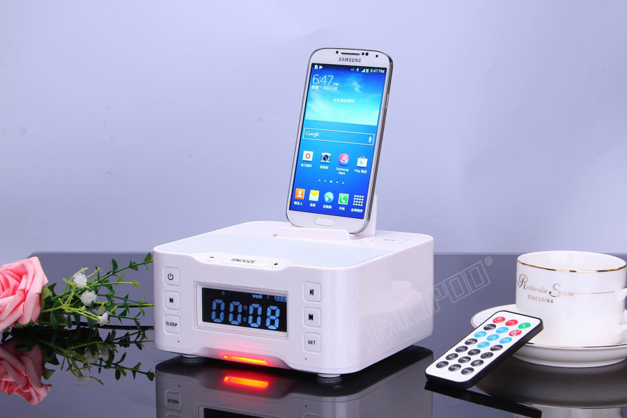 Bluetooth Radio Speaker Dock station Alarm clock NFC Wireless speaker for iPhone, iPad, iPod, Android system