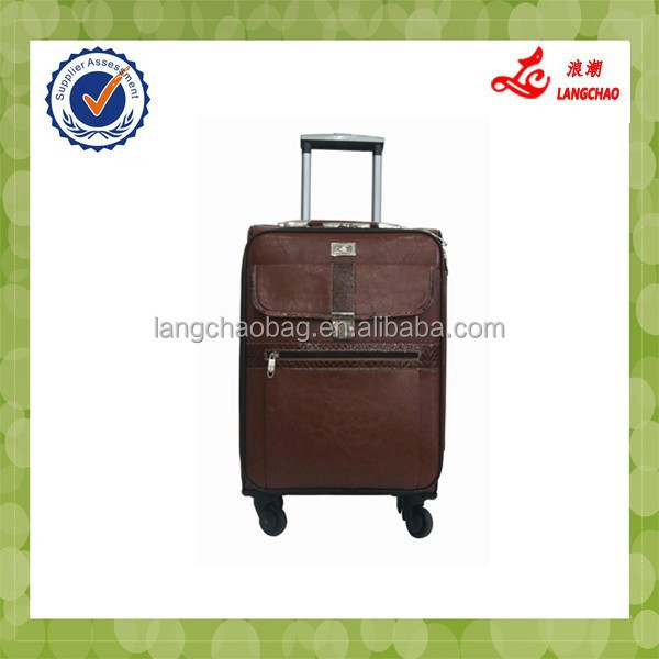 2015 New Design PU Leather Waterproof Fashionable Pilot Trolley Case