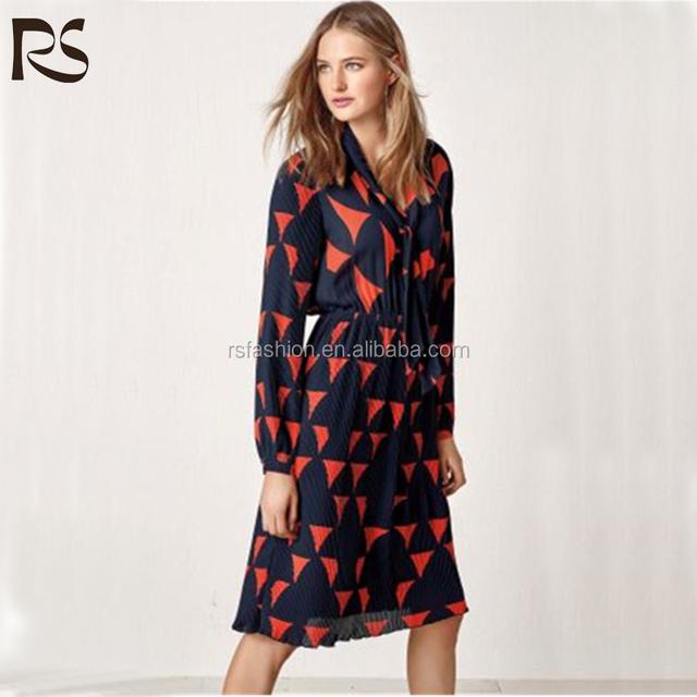 2017 RS Orange long sleeve print dress,dresses women summer