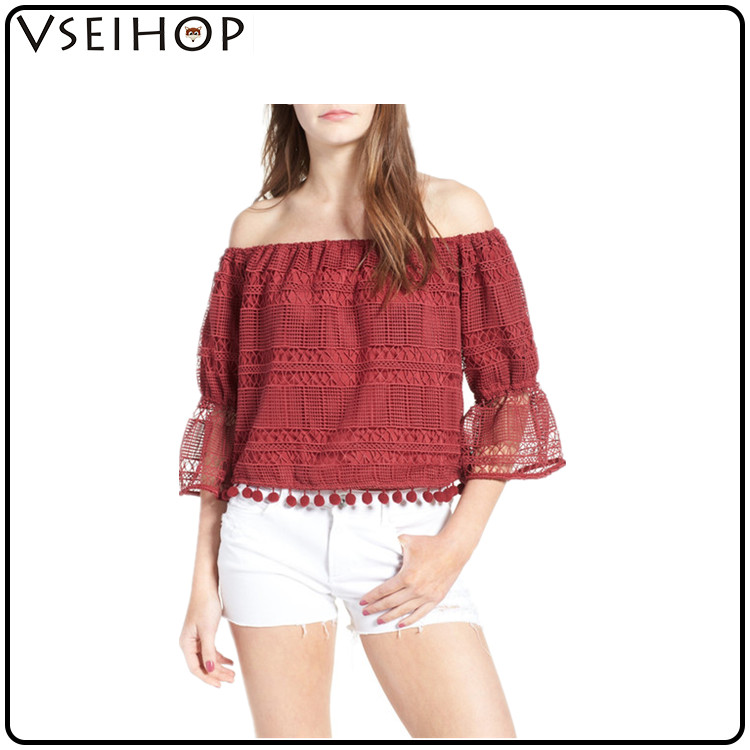 Fashion Women Lace Blouse clothing sexy top girls without picture madi red long sleeve summer blouse woman