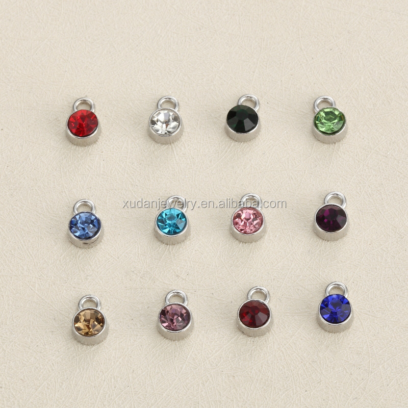 Wholesale Stainless Steel Metal 6mm Birthstone Charms for Jewelry Making
