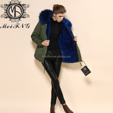 On sale!!!2017 new brand short women clothing charming blue fur collar