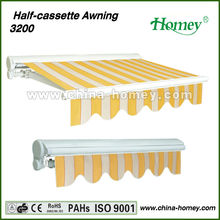 Aluminum waterproof rectractable half cassette awning