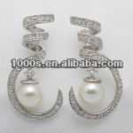 2013 Special Shape Silver Earrings engravable Pearl For Ladies