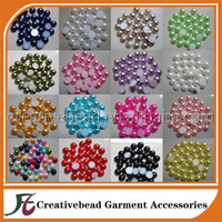 wholesale freshwater pearls hot pink half round pearl beads flat back pearl gem