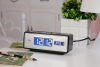 LCD black and white desktop clock with calendar for home decor