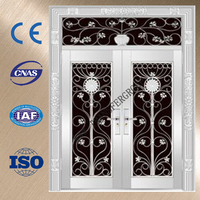Vented exterior double door stainless steel grill door design