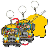 Key Chain Holder EVA School Bus Shape 3D Lenticular Flip Effect yellow with flashing hazard lights and bouncing kids