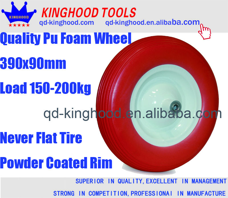 PU foam rubber wheels 400 solid rubber 4.80 / 4.00-8 rubber wheel with steel rim axis