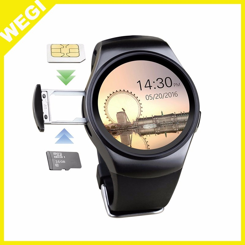 2016 new Round OGS Capacitive Screen Smartwatch KW18 smart watch with SIM card Heart Rate Monitor