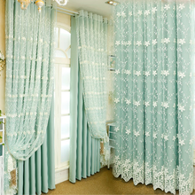 Fancy design window linen look fabric curtains with embroidery sheer
