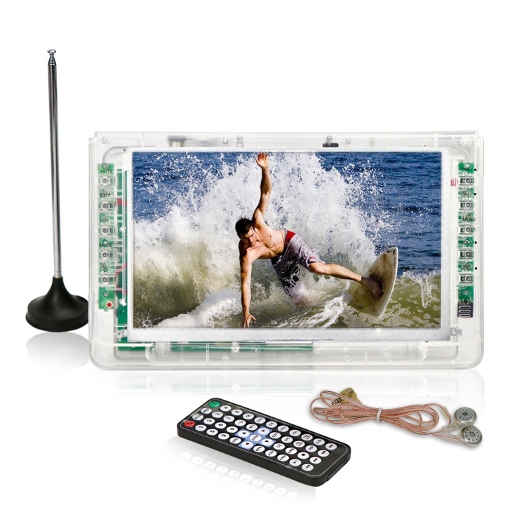 Portable mini TV pocket digital DC 12V transparent prison clear case TV