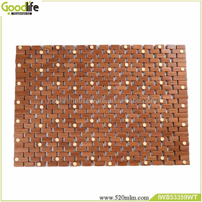 Durable anti-slip mat ghana teak wood bath mat in stock