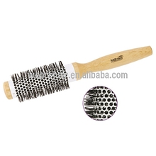 round shape wood handle nylon hair material wood thermal brush for hair