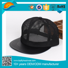 Simple Full Mesh Snapback Hat With Black Leather