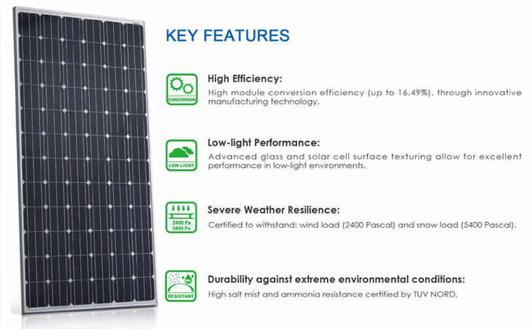 Factory price A Grade Monocrystalline pv solar panel 300w for wholesale