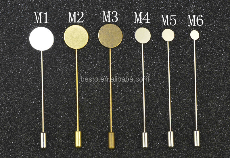 Chinese factory direct custom metal stick pin, long needle lapel pin