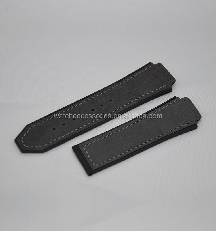 wholesale genuine leather watch strap, front cow leather watch strap back rubber strap