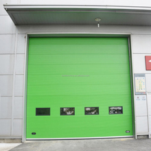 Half enclosed track design PU panel sectional overhead doors with good air tight performance