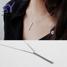 Vertical Line Shape Pendant Alibaba Elegant Long Sterling Silver Fashion Jewelry 2017 Silver Necklace