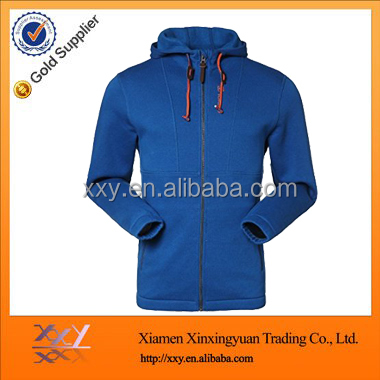 2014 Men Blank High Collar Hoodie with Full Zip