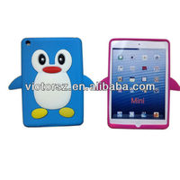 2013 hot penguin animal shaped silicone case for ipad mini, for ipad mini silicone case with retail package
