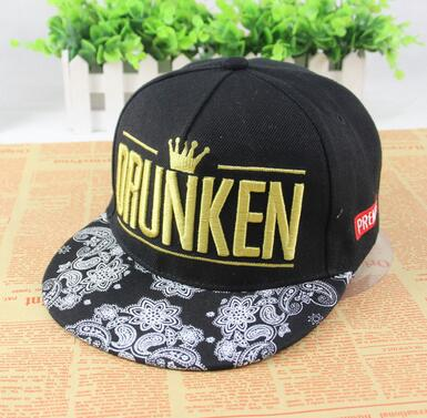 Trendy Custom DRUNKEN 3D Embroidery 5-Panel Floral Brim Snapback Caps Men women hats trucker snapback caps