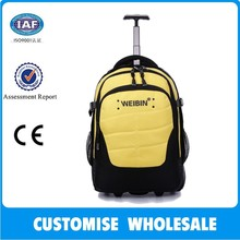 promotional trolley backpack with two plastic wheels