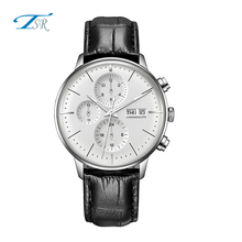 New trend men watch with genuine leather strap, stainless steel back watch silver casing