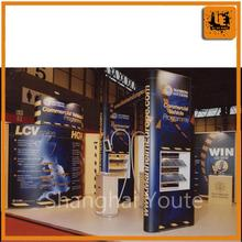 exhibition magnetic pop up display stand banner stands, double row literature holder