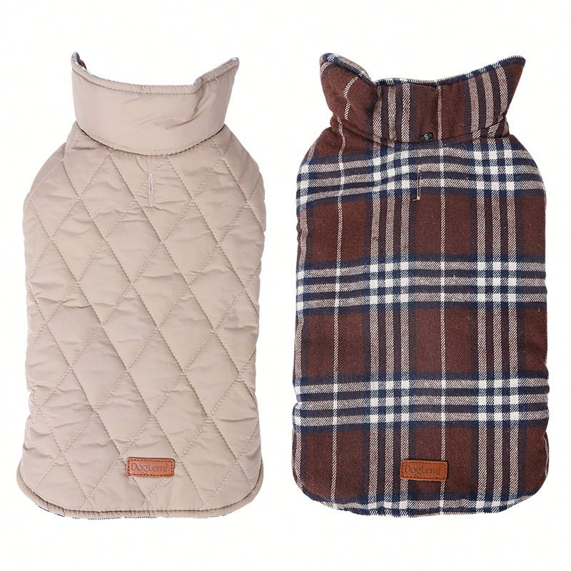 Waterproof Jacket Reversible Design Warm Winter Coats Pet Clothes Vest Cloth Winter British Style Pet Clothing