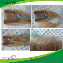 Most natural thin skin pu U-shape front top closures blonde straight hair toupee