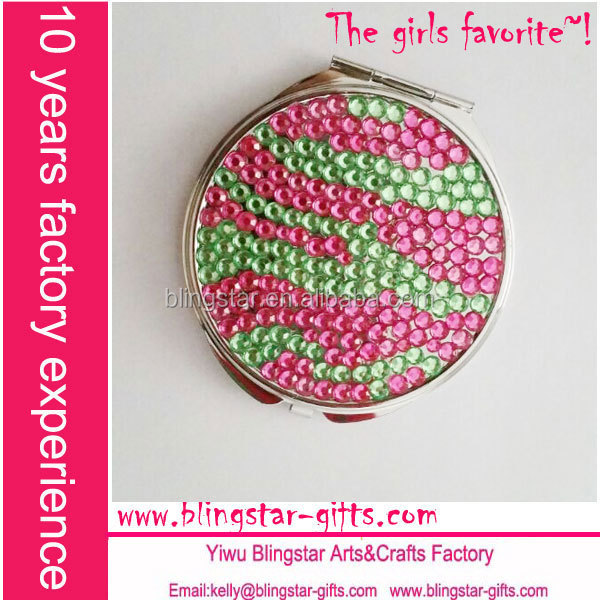 bling pink and green makeup mirror